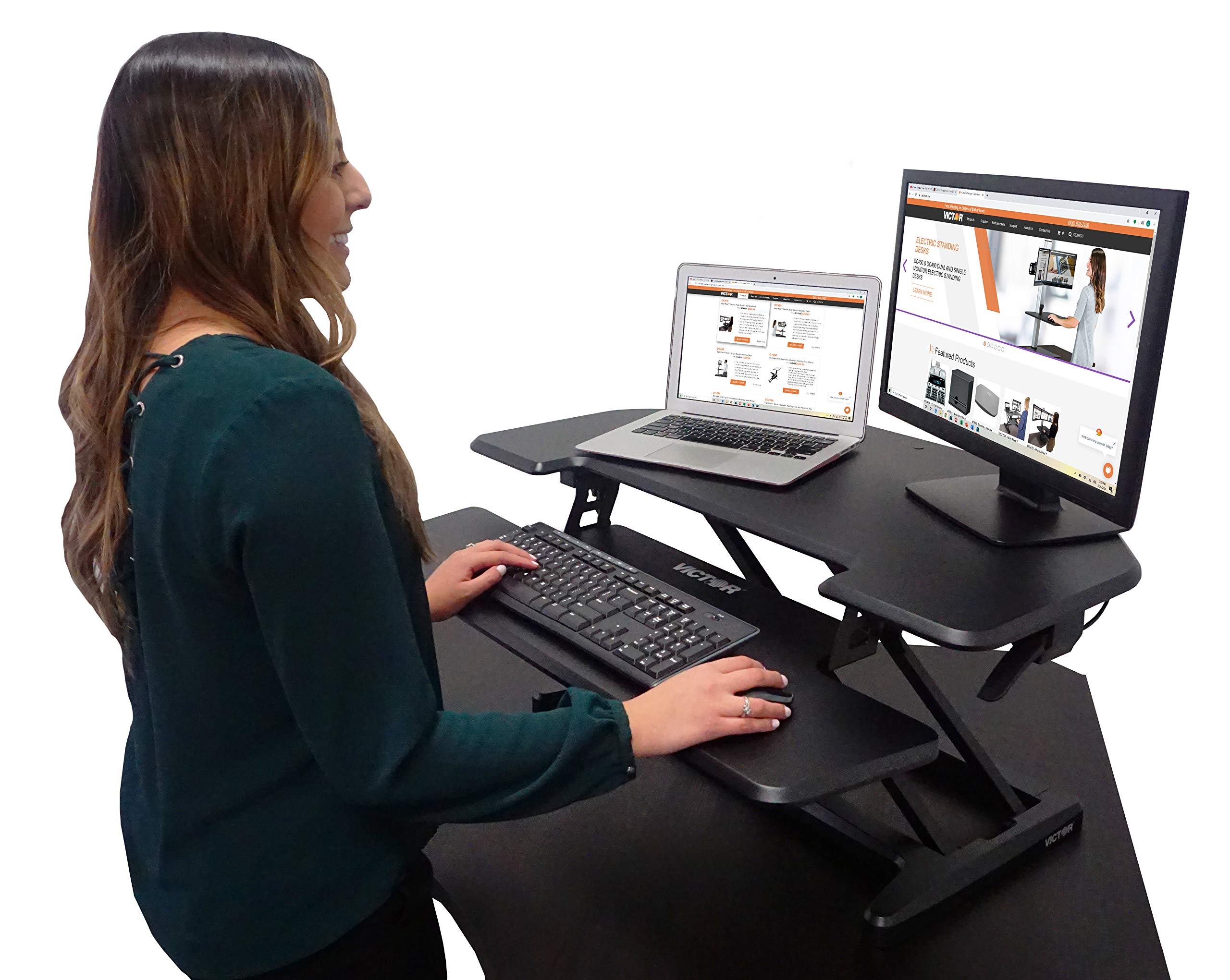 """Victor DCX650 High Rise Height Adjustable Corner Standing Desk with Removable Keyboard Tray   Compact   Black   36"""" Wide Tabletop Standing Desk for Dual Monitors"""