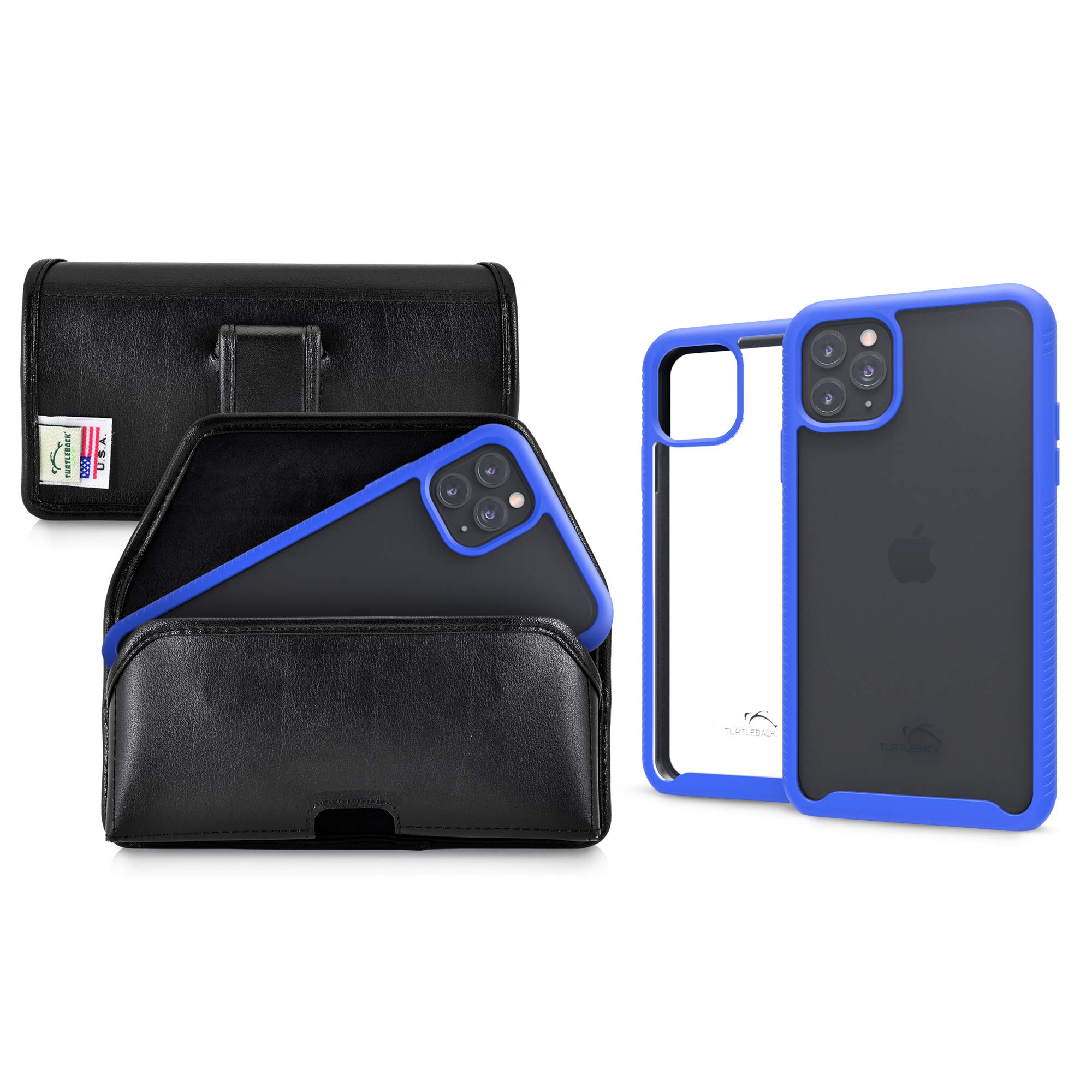 Turtleback Tough Defense Case/Holster Combo Designed for New iPhone 11 Pro (2019) 5.8 Inch Military Grade Drop Tested Ultra Clear Back Fitted in Leather Belt Pouch Executive Belt Clip-Horizonal/Blue