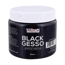 U.S. Art Supply Black Gesso Acrylic Medium, 500ml Tub - 16.9 Ounces over a Pint