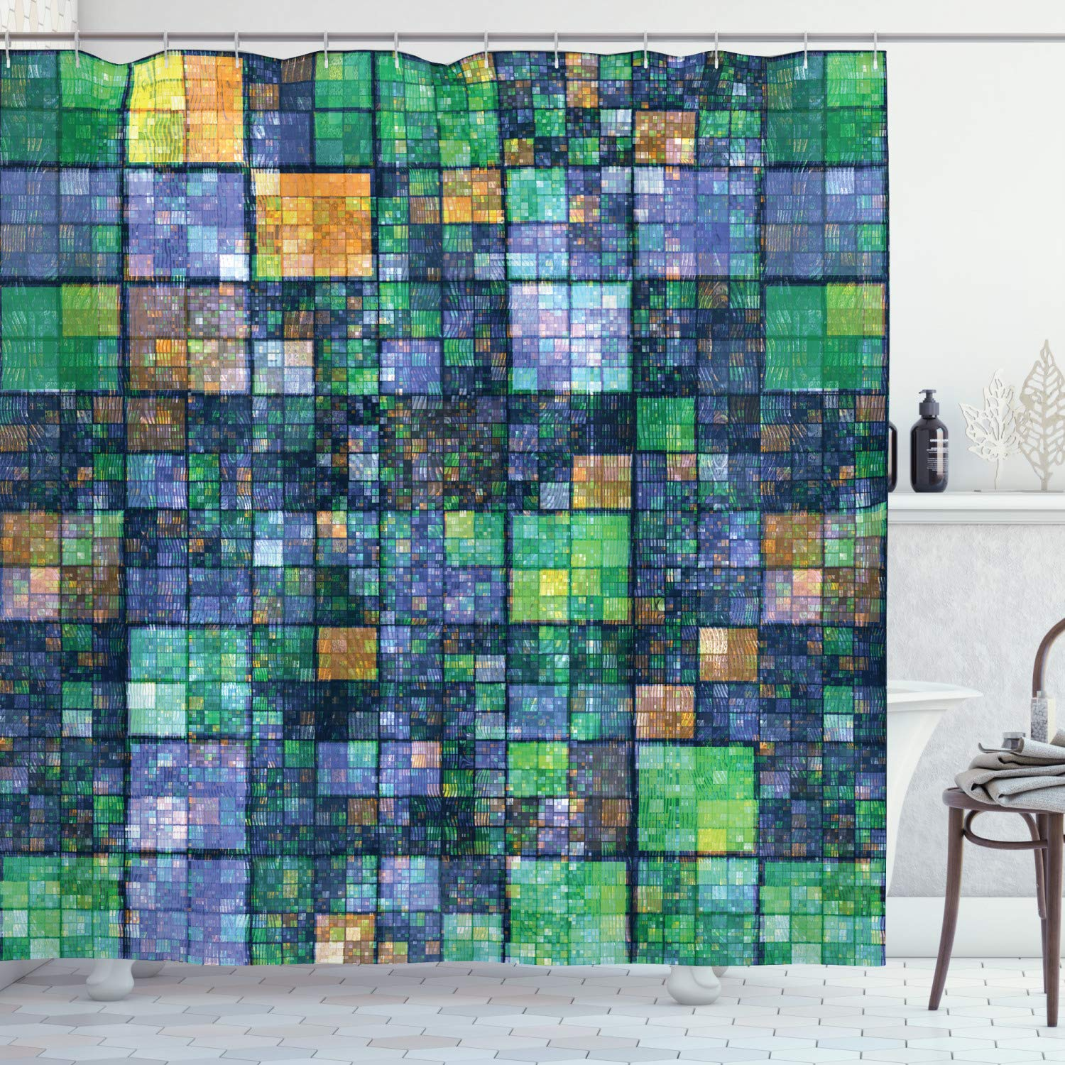 Ambesonne Modern Shower Curtain Mosaic Geometric Design With Rainbow Colors Patchwork Like Design Artwork Cloth Fabric Bathroom Decor Set With Hooks 75 Long Yellow Green