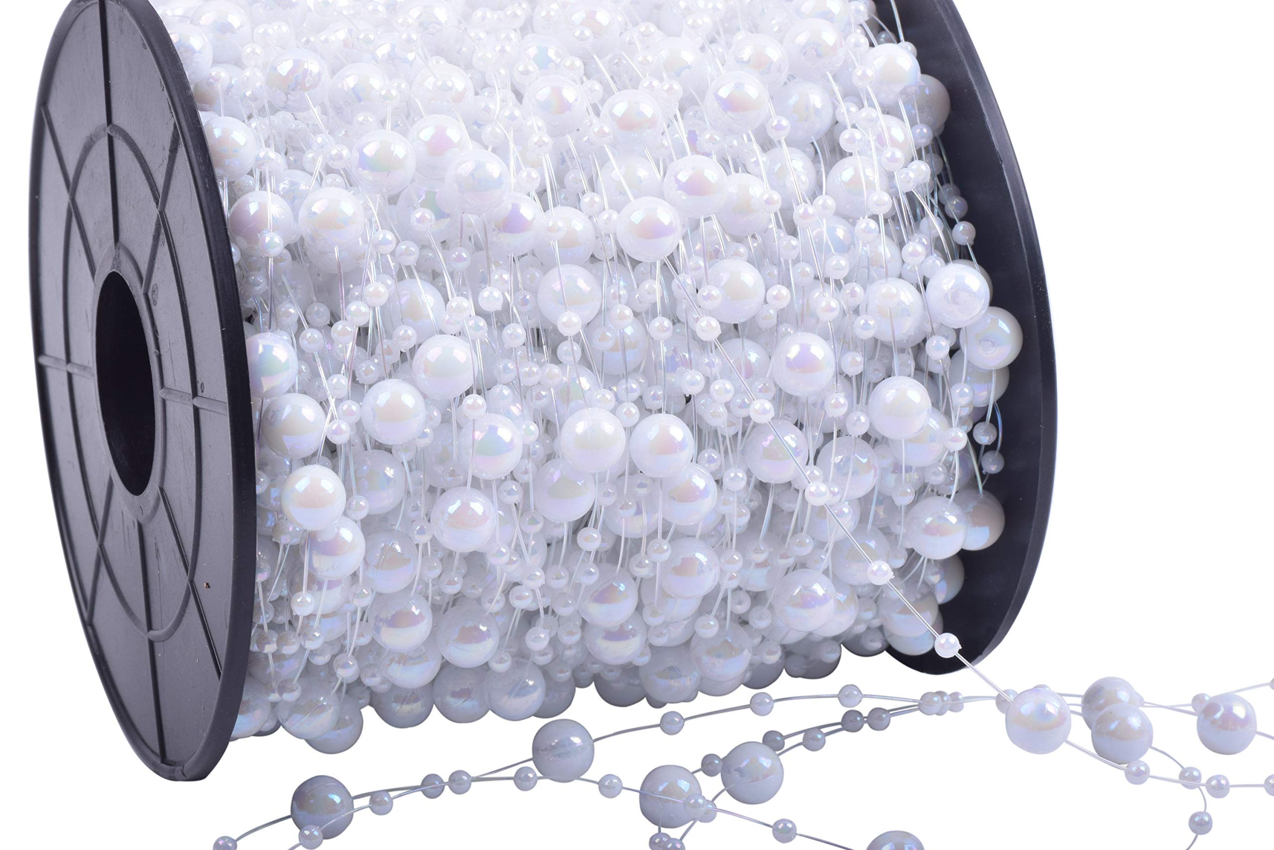 KAOYOO 200 Feet Artificial Pearls String Beads Chain Garland Pearl Beaded Trim(White AB)