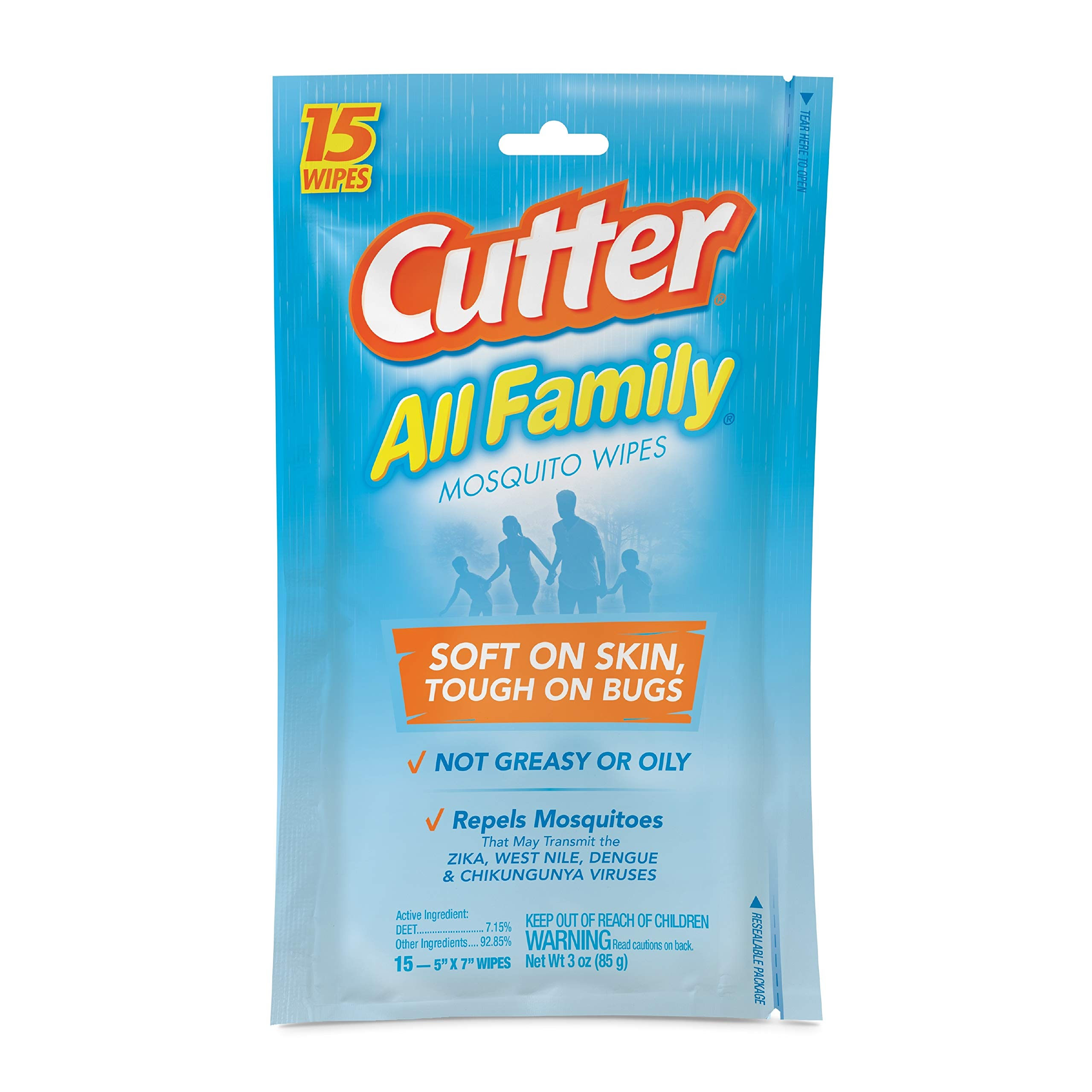 Cutter All Family Mosquito Wipes, 15-Count, 12-Pack