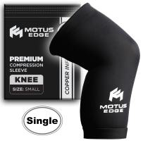 Motus Edge Copper Infused Knee Compression Sleeve for Running, Sports, Crossfit, Pain Relief, Rehab (1-Pack - Small)