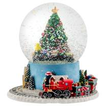 Elanze Designs Christmas Tree Village Musical Water Globe and Moving Train - Plays Tune We Wish You A Merry Christmas