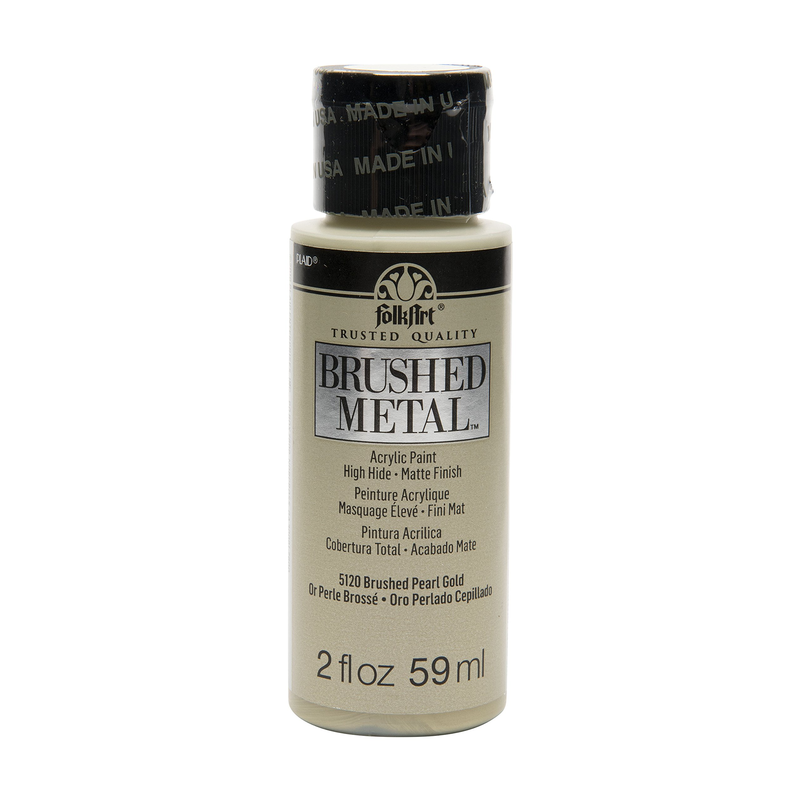FolkArt Brushed Metal Paint in Assorted Colors (2 oz), 5120 Pearl Gold