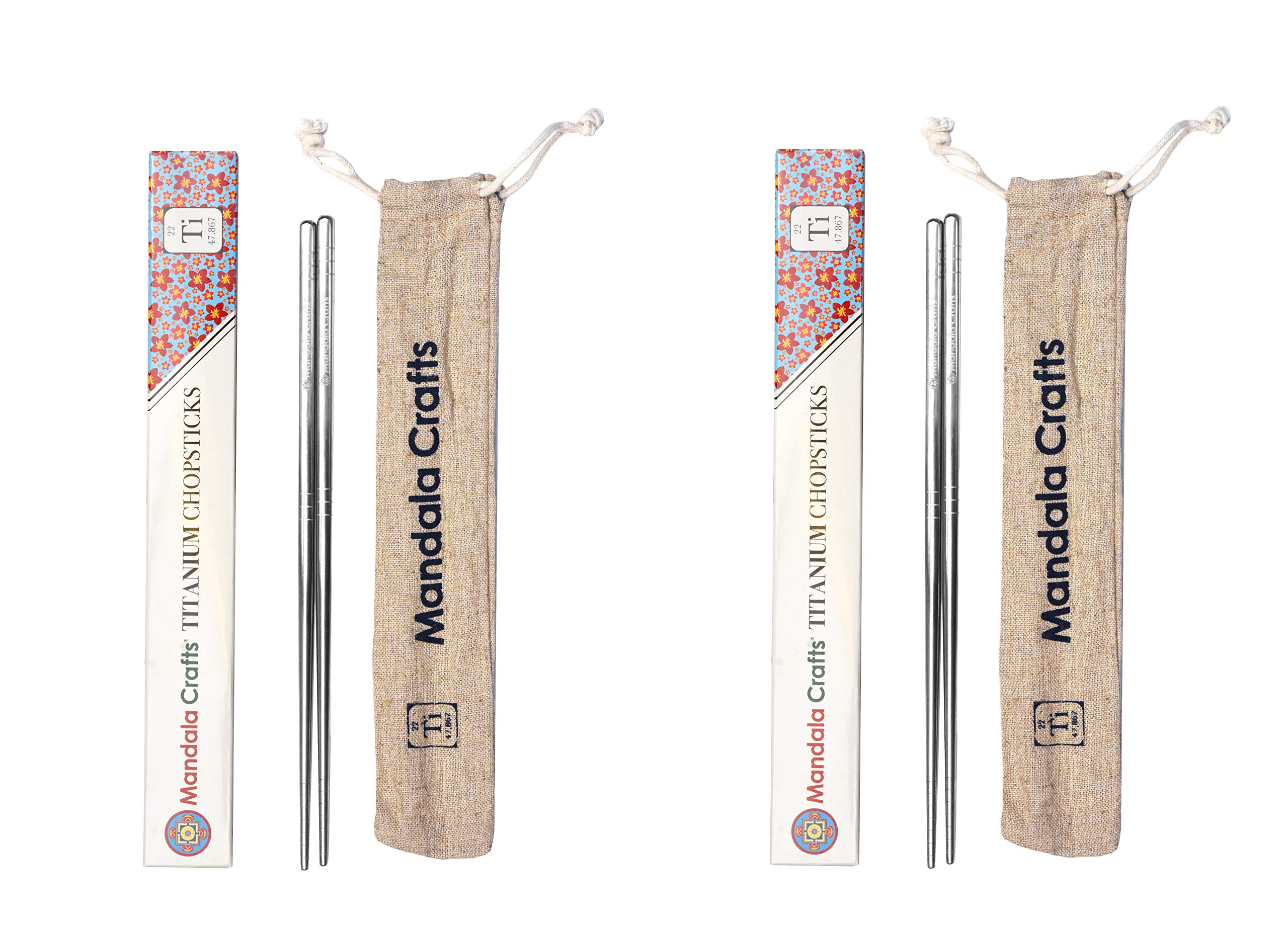 Mandala Crafts Reusable Titanium Chopstick Set with Case for Adults and Kids; Portable and Dishwasher Safe, Pack of 2 Pairs, Square Handle