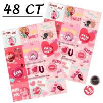 Moon Boat Valentine's Day Cards for Kids with Buttons/Pins Heart Party Favors School Classmate Gifts 48Ct