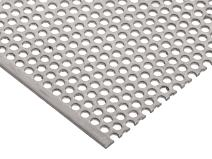 """304 Stainless Steel Perforated Sheet, Unpolished (Mill) Finish, Annealed, Staggered 0.125"""" Holes, 0.048"""" Thickness, 18 Gauge, 24"""" Width, 36"""" Length, 0.1875"""" Center to Center"""