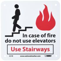 "NMC S31R Graphic See Sign, Legend ""In case of fire do not use elevators Use stairways"", 7"" Length x 7"" Height, Rigid Plastic, Black/Red on White"