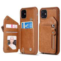 iPhone 11 Pro Max Wallet Case for Women/Men with Strap,Vodico Slim Flip Folio Zipper Leather Phone Purse with Card Holder+Full Body Shockproof Silicone Case Magnetic Closure Stand Cover (Brown)