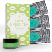 Complete Lip Treatment by Matykos - Green Tea Lip Mask and Lip Scrub for Dry Lips Moisturizing Repairing Lips Mask Peeling Chapped Lips Skin