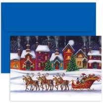 "Masterpiece Studios Hollyville 18-Count Christmas Cards in Keepsake Box, 7.8"" x 5.6"", Santa & Sleigh"
