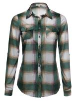 Women's Lightweight Collar Plaid Button Down Shirt