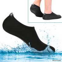 ECO-FUSED Women's Water Socks or Shoes with Elastic, Quick Dry, Breathable Fabric and Non-Slip Rubber Sole - Extra Comfort – Yoga, Beach, Pool, Volleyball, and More