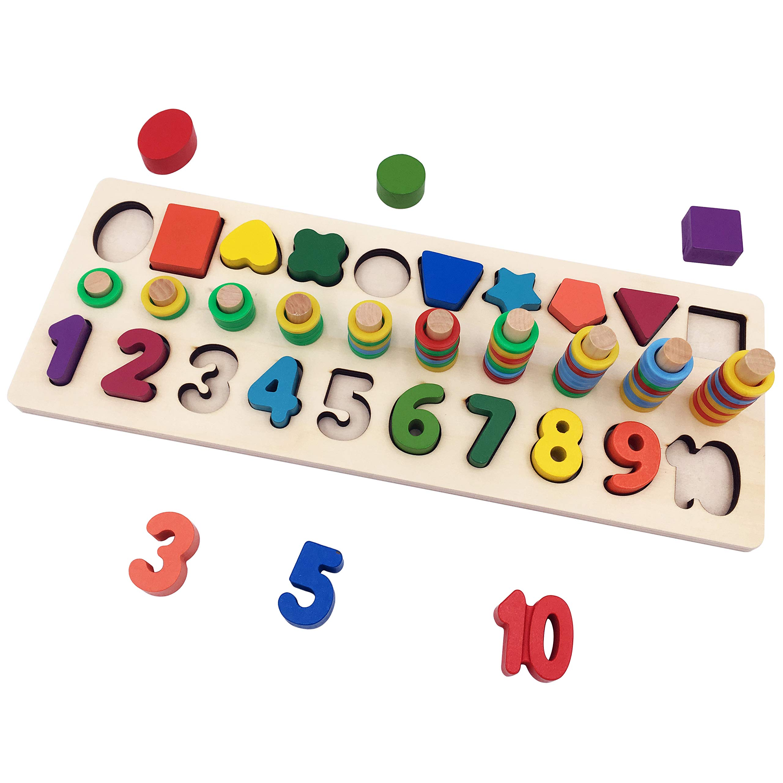 Moruska Wooden Math Game Board Number Puzzles Shape Sorter Toy Educational Math Learning Tools for Kids Teaching Counting Toy for Toddlers