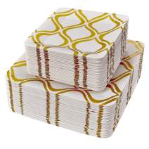 PARTY DISPOSABLE PAPER PLATE SET |  36 Dinner Plates | 36 Salad Plates | Heavy Duty Materials (Moroccan - Gold)