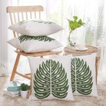Deconovo Decorative Cotton Pillow Cover Soft Cotton Cushion Covers with Monstera Leaf Pattern Green 18x18 inch Set of 4