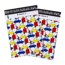 RUSPEPA Poly Mailer Shipping Bag - 2.3 Mil Thick Blue Red Yellow Car Printed Envelopes with Self Seal Adhesive Strip - 10x13 Inch - 100PCS - Car