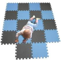 MQIAOHAM Children Puzzle mat Play mat Squares Play mat Tiles Baby mats for Floor Puzzle mat Soft Play mats Girl playmat Carpet Interlocking Foam Floor mats for Baby Blue Grey 107112