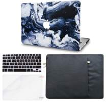 "KECC Laptop Case for Old MacBook Pro 13"" (CD Drive) w/Keyboard Cover + Sleeve + Screen Protector (4 in 1 Bundle) Plastic Hard Shell Case A1278 (Black Grey Marble)"
