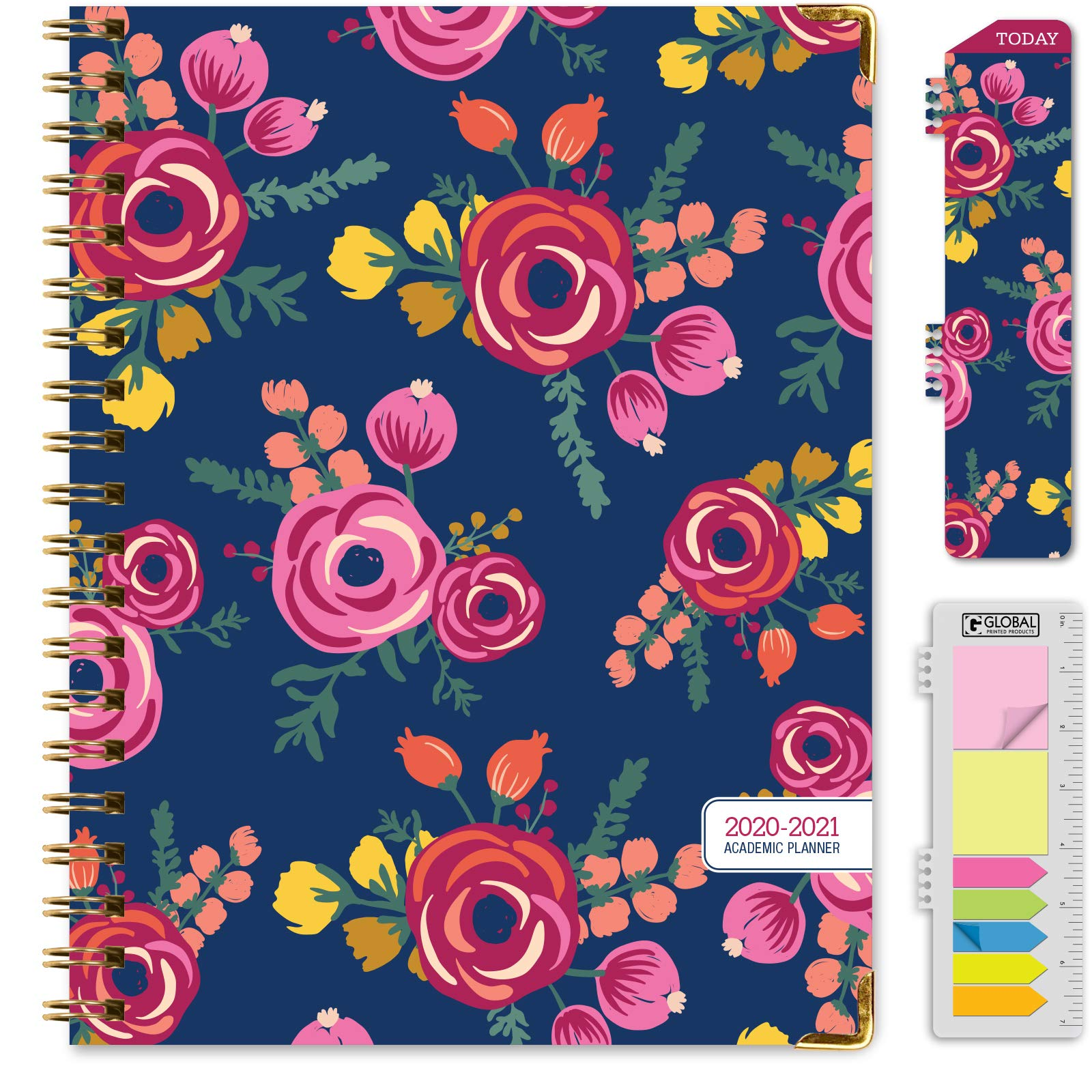 """HARDCOVER Academic Year 2020-2021 Planner: (June 2020 Through July 2021) 8.5""""x11"""" Daily Weekly Monthly Planner Yearly Agenda. Bonus Bookmark, Pocket Folder and Sticky Note Set"""
