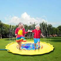 """Zoneyee Sprinkle & Splash Play Mat Outdoor Water Play Sprinklers Pad for Kids, Upgraded Inflatable 68"""" Toddler Water Toys Fun for 1 2 3 4 5 6 7 8 Year Old Boys Girls Pets … (White1)"""