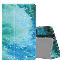 MoKo Case Fits Kindle Fire 7 Tablet (9th Generation, 2019 Release), Premium PU Leather Slim Folding Stand Shell Multiple Viewing Angles Cover with Auto Wake/Sleep - Swirl