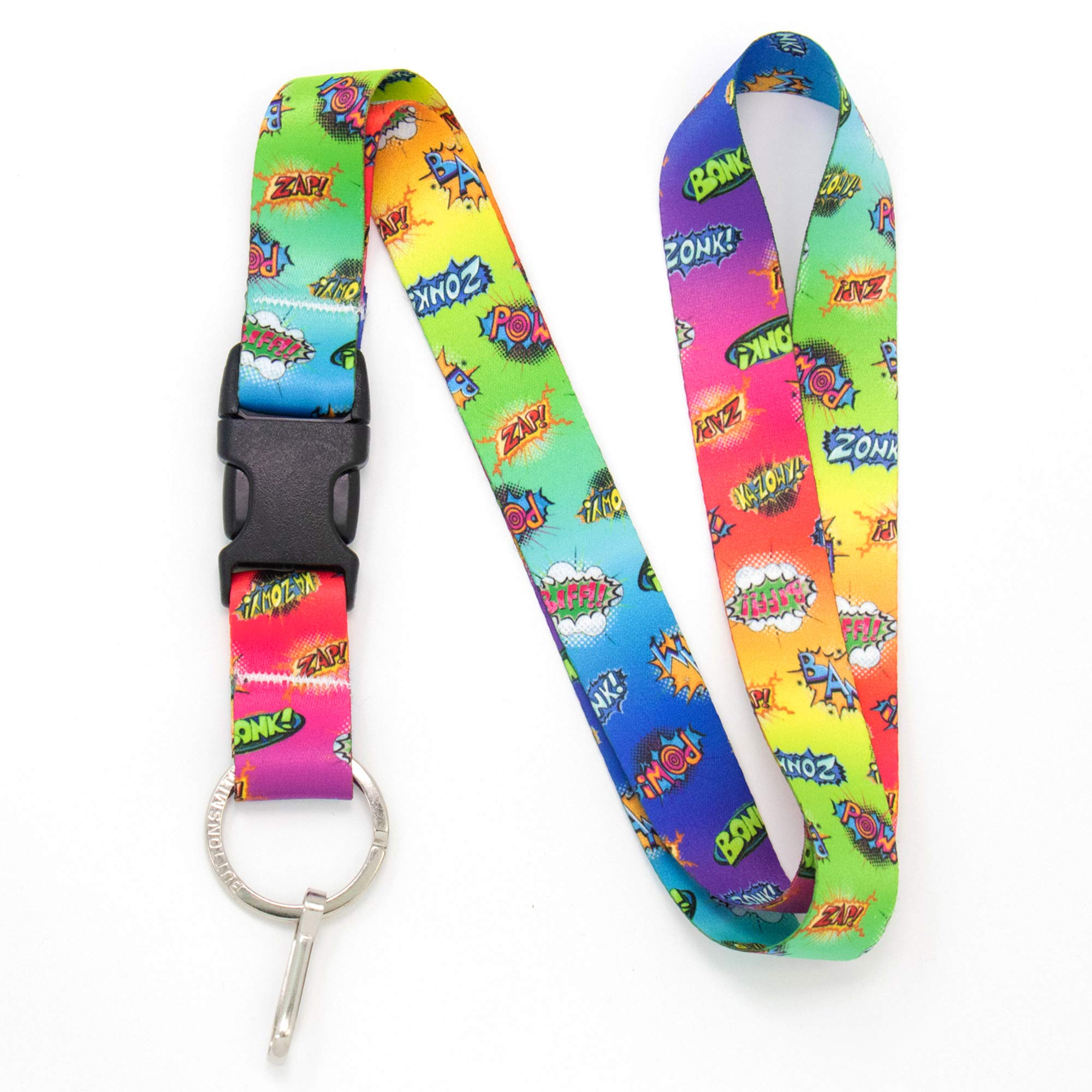 Buttonsmith Comix Premium Lanyard - with Buckle and Flat Ring - Made in The USA
