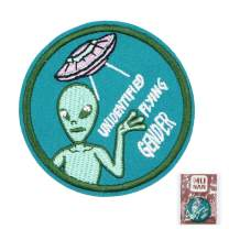MUNAN sew on Patches UFO Alien unidentifled Flying Gender Patch Iron On Sewing Embroidered Patches Badge Applique for Clothes Jacket Jeans Cap