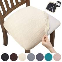 YISUN Stretch Spandex Chair Seat Covers - Removable Washable Anti-Dust Dining Chair Seat Protector Cushion Slipcovers for Dining Room, Kitchen, Office (Set of 6, Beige)