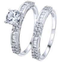 Luxurious Sterling Silver .925 VVS1 Clarity 3.2 CTW Round Cut AAA (CZ) Cubic Zirconia Woman's 2 Piece Set Ring, Platinum/Rhodium Plated. Sizes 5 6 7 8 9 10