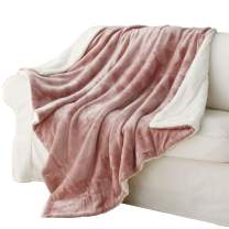 """Exclusivo Mezcla 50"""" x 70"""" Large Throw Blanket, Reversible Brushed Flannel Fleece& Plush Sherpa Blanket(Pink)- Decorative, Lightweight, Soft and Warm"""