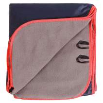 REDCAMP Large Waterproof Stadium Blanket for Cold Weather, Soft Warm Fleece Camping Blanket Windproof for Outdoor Sports, Blue/Dark Blue