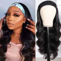 VRBest Headband Wig for Black women Body Wave Human Hair Wigs None Lace Front Wigs Brazilian Virgin Hair Machine Made Wigs Headband Wig Ice Silk Headband Half Wig 150% Density 24 Inch