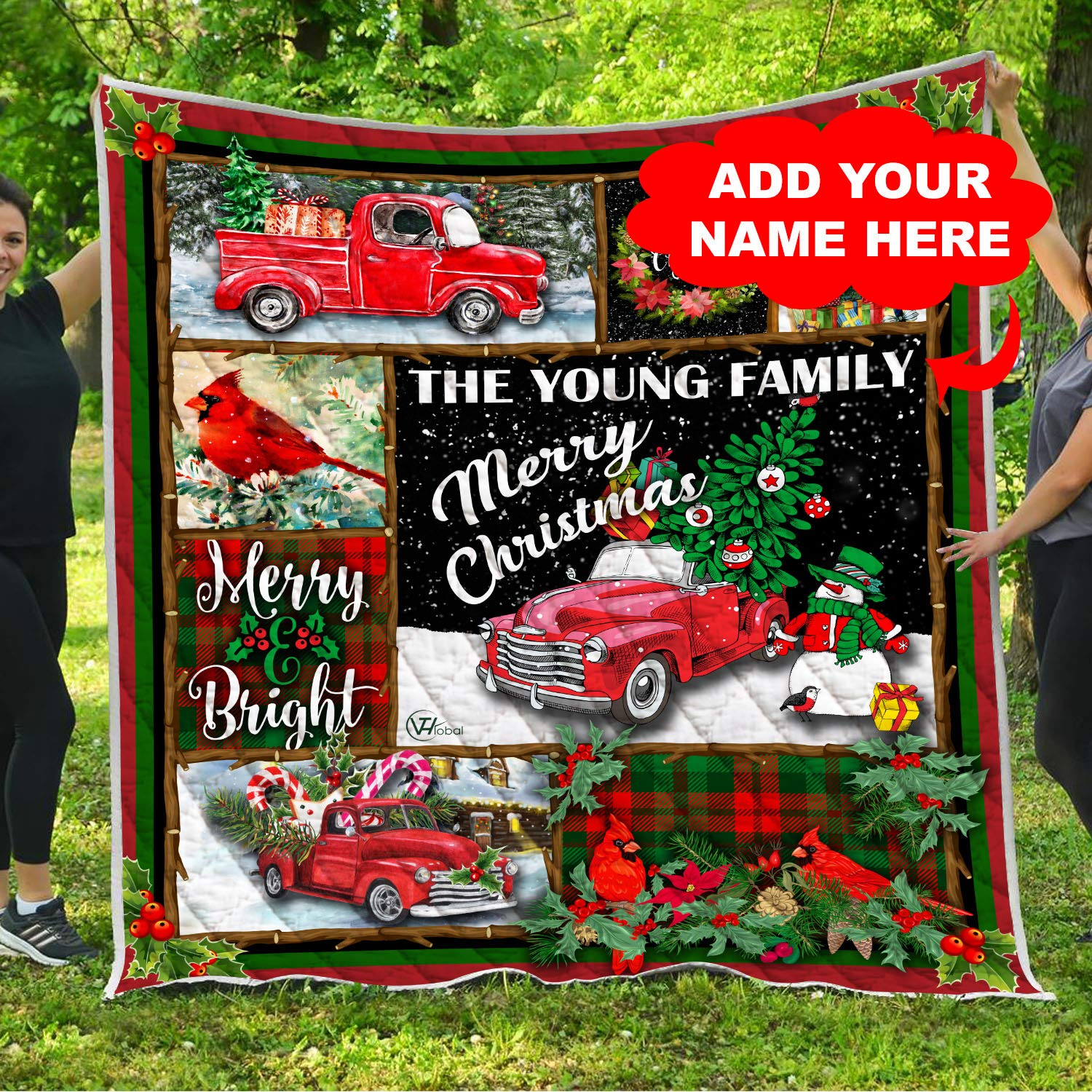 Personalized Family Name Red Pickup Truck Christmas Quilt Fleece Throw Blankets Comforter Tapestry Holiday Xmas Birthday Custom Gifts for Mom Dad Wife Husband Kids Son Daughter Grandma Grandpa