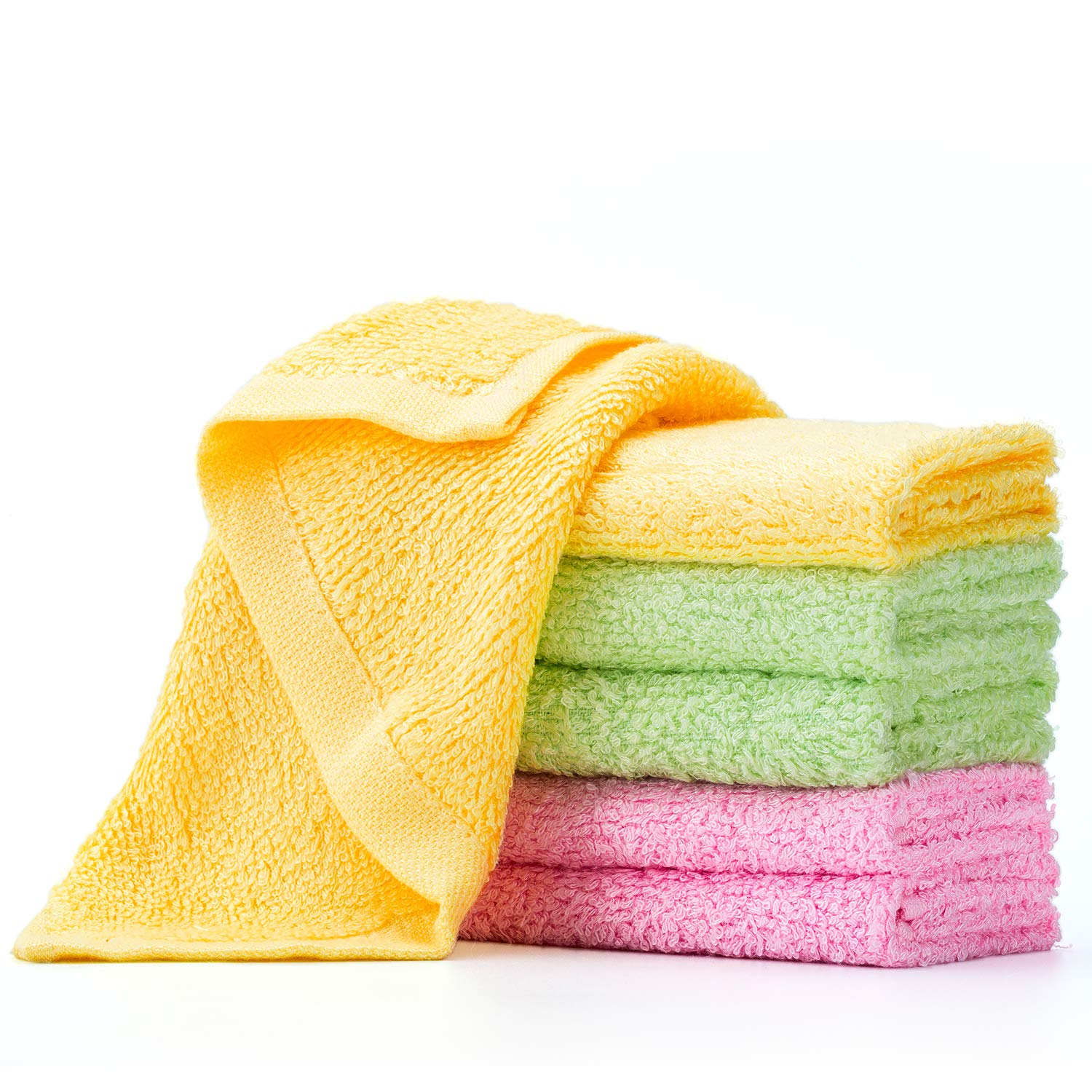 100% ECO-FRIENDLY Wood Fiber Multi-Purpose Cleaning Cloths - Washcloth - Kitchen Towels - Dish Rags - Dust Wipes - Quick Dry - Super Absorbent - Very Soft - Lint Free - 6 Pack - 3 Colors - 10x10 inch