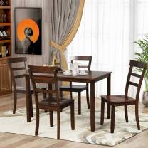 DKLGG 5-Piece Kitchen Dining Table Set, Counter Height Table Set Wood Table and Chairs Set, 4 Padded Chairs for Small Place/Kitchen Dining Room(Brown)