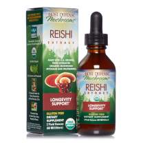 Host Defense, Reishi Extract, Supports General Wellness and Vitality, Daily Mushroom Mycelium Supplement, Organic, 2 fl oz (30 Servings)