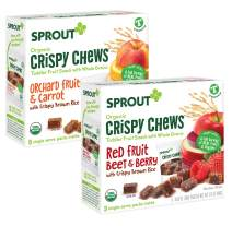 Sprout Organic Crispy Chews Toddler Snacks, Variety Pack, 5 Count boxes of 0.63 Ounce Single Serve Packets (Pack of 10 Boxes) 5 Boxes Each: Red Fruit Beet & Berry and Orchard Fruit & Carrot