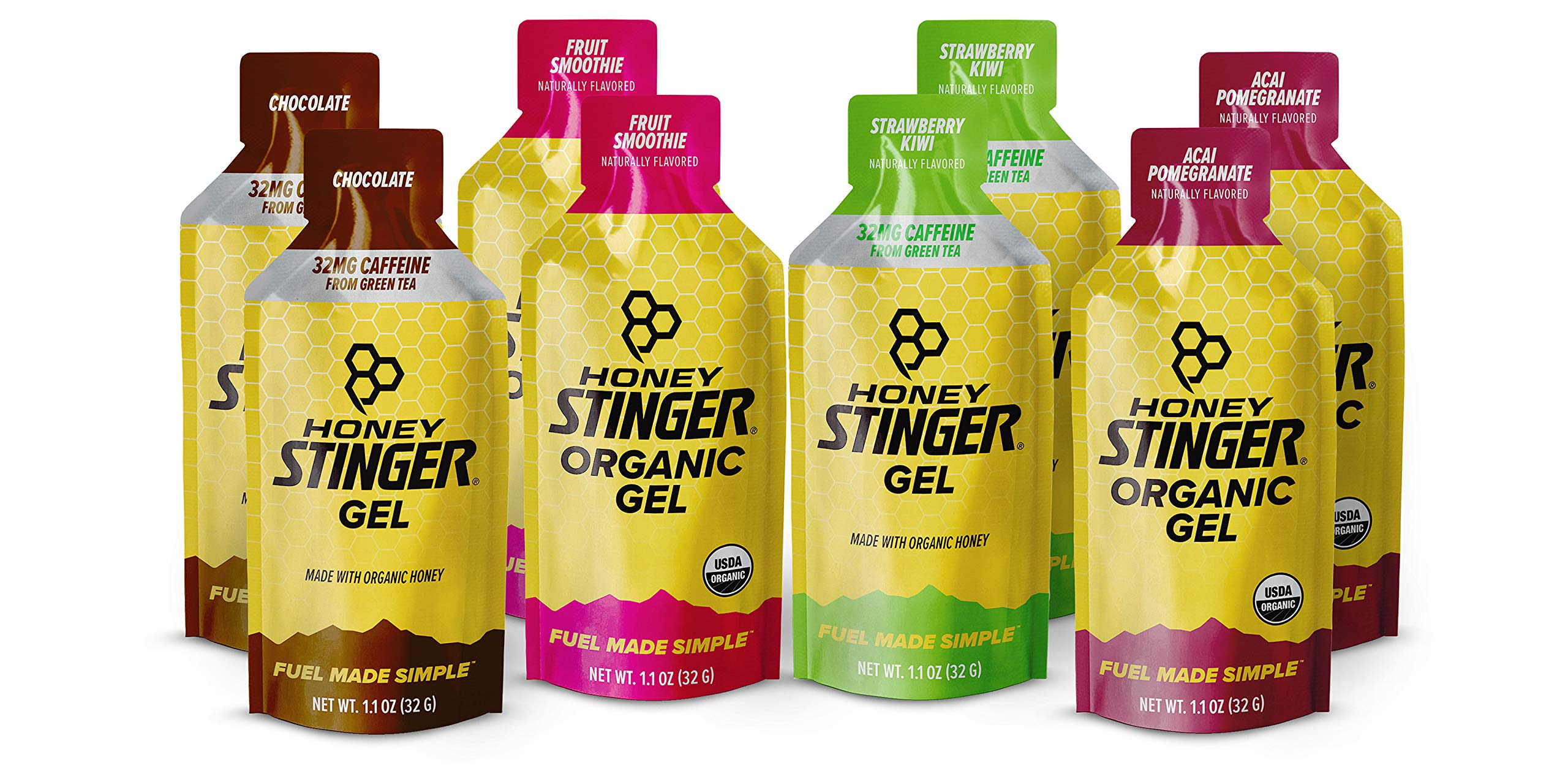 Honey Stinger Organic Energy Gels – Variety Pack with Sticker – 8 Count – 2 of Each Flavor – Energy Source for Any Activity – Acai & Pomegranate, Strawberry Kiwi, Chocolate & Fruit Smoothie