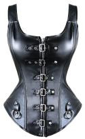 MISS MOLY Steampunk Rock Faux Leather Buckle-up Corset Bustier with Zipper Basque Top Christmas Costume
