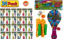 JA-RU Paddle Ball with String, Jax Game and Jump Rope (24 Packs Assorted Colors) | 3 Classic Games Bundle Rainbow Combo Pack Plus 1 Collectable Bouncy Ball. | Item #721-24p