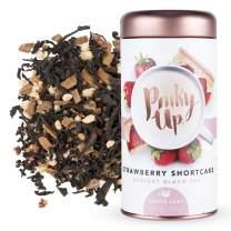 Pinky Up Strawberry Shortcake Loose Leaf Tea Whole Leaf Organic Black Tea, 40-60mg Caffeine Per Serving, Naturally Calorie-Free & Gluten-Free 2.5 Ounce Tin, 25 Servings