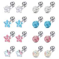 LOYALLOOK 8 Pairs Cartilage Earrings 18G Surgical Steel Earrings Colorful Screw Back Earrings CZ Ball Heart Star Square Round Tragus Helix Earrings