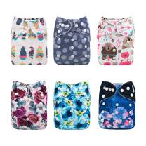 Babygoal Baby Girl Cloth Diapers, One Size Reusable Washable Pocket Nappy, 6pcs Cloth Diapers+6pcs Microfiber Inserts+4pcs Charcoal Bamboo Inserts,Girl Color 6FG24
