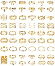 FIBO STEEL 54-58 Pcs Vintage Knuckle Rings for Women Stackable Simple Plain Band Midi Finger Bohemian Retro Joint Rings Hollow Carved Flowers Ring Jewelry Set