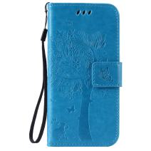 Cmeka 3D Cat Tree Flower Butterfly Wallet Case for iPhone 6 / iPhone 6s Slim Flip Leather Protective Case Magnetic Closure Credit Card Slots Holder Kickstand Function Sky Blue