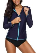 Anwell Womens Rash Guard Shirt Long Raglan Sleeve Zip Front Swim Shirt