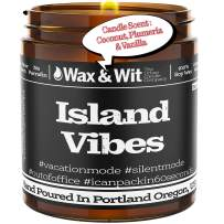 WAX & WIT Scented Soy Candle Infused with Coconut, Plumeria & Vanilla - Soy Candles, Gifts for Mom, Funny Candles Gifts for Your Boss - One 9 oz Candle (Island Vibe)