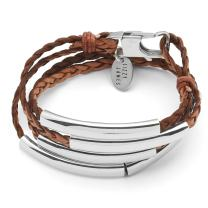 Lizzy James Mini Addison Braided Leather Wrap Bracelet with Silverplate Crescents in Natural Antique Brown Leather